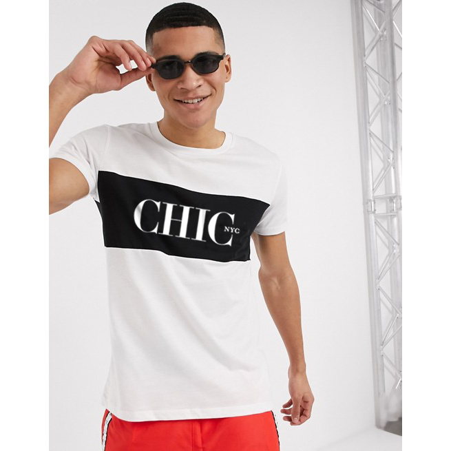 CHIC NYC MAN White T-Shirt with Black Band