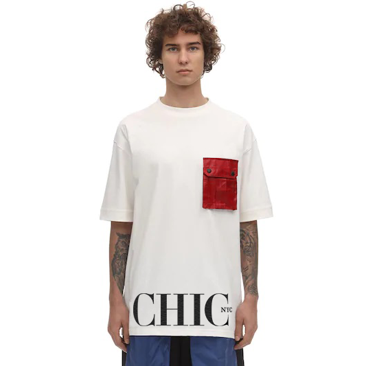 White Oversize T-Shirt with Red Pocket