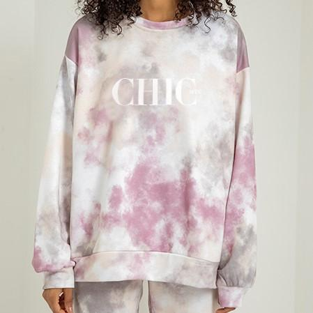 CHIC NYC Cloud Pattern Nude Hoodie