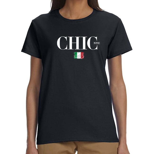 Milano CHIC NYC Tee Shirt - White or Black - Italian Colors