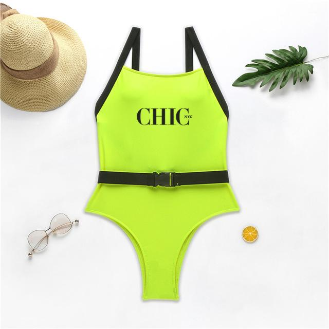 Chic Nyc Banded Neon Swimsuit