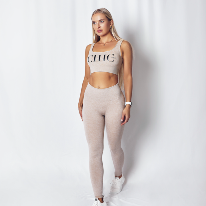 2 Piece Nude / Tan Pant & Crop Top Tank Set