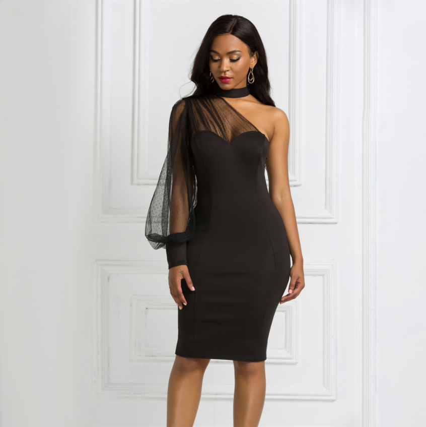 Choker One shoulder Party Dress