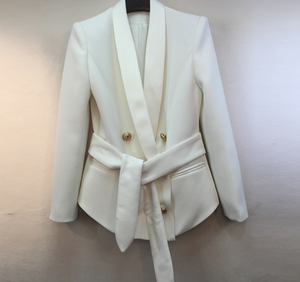 Wrap Around Famous Blazer with Gold Button and Satin Details - White