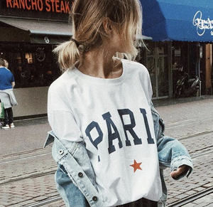 Paris Custom Graphic Tee Shirt - White