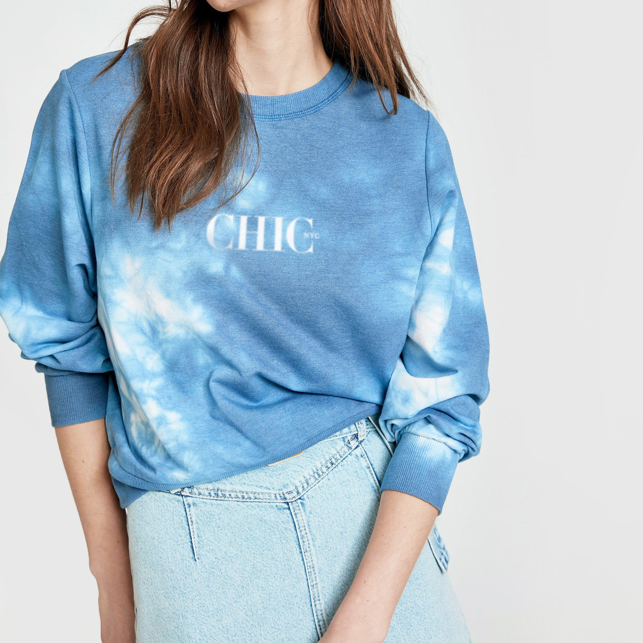 CHIC NYC Cloud Pattern Blue Sweater