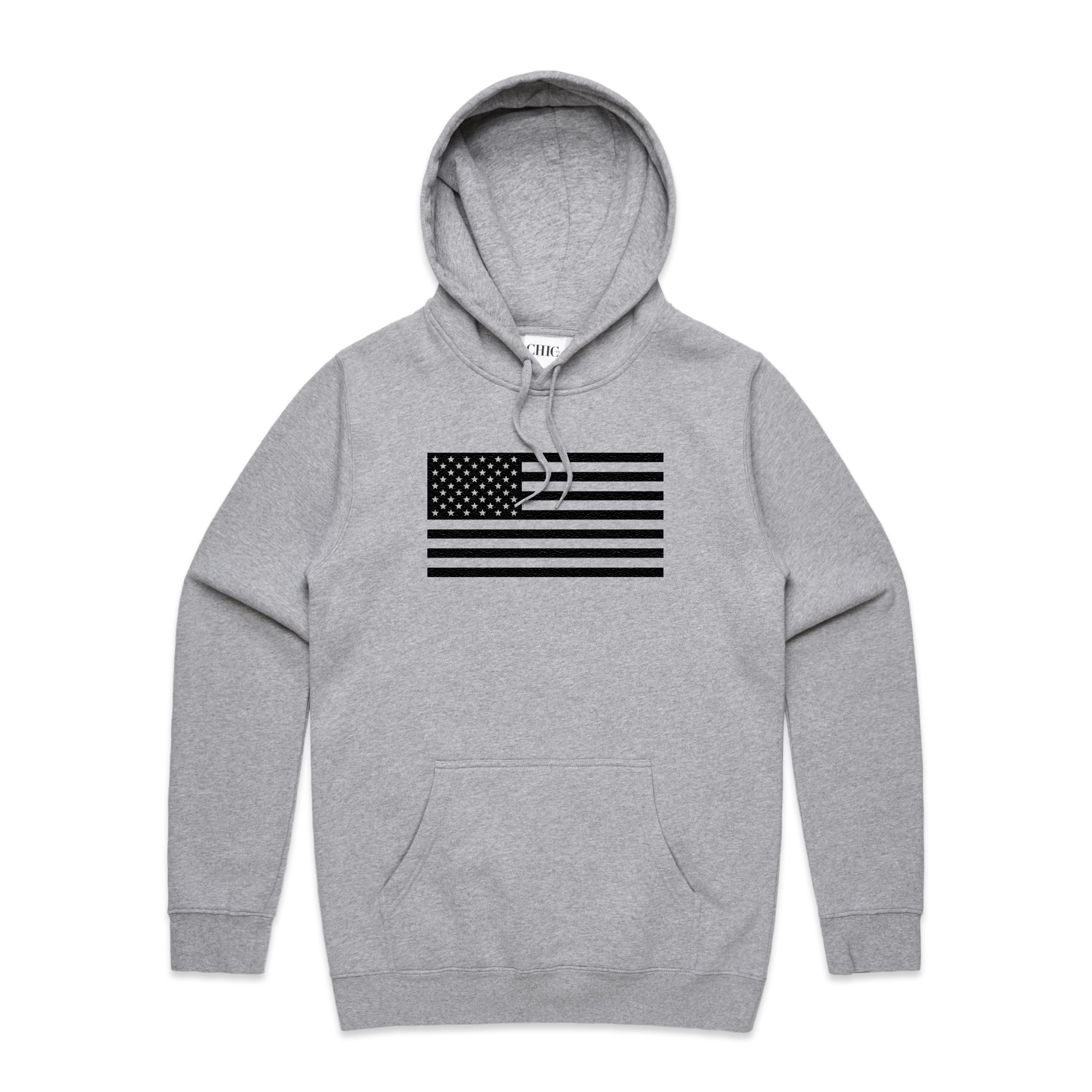 Gray Basic Hoodie with USA Flag