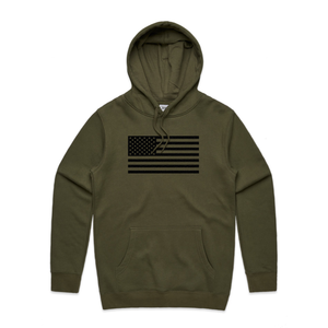 Green Basic Hoodie with USA Flag