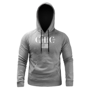 CHIC NYC MAN Fitness Hoodie with USA Flag - Gray