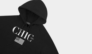 CHIC NYC MAN Fitness Hoodie with USA Flag - Black