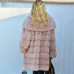 RUNWAY Faux Fur Hooded Coat - Pink