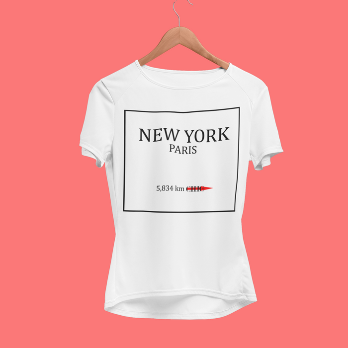 Take me to PARIS - 4 Colors CHIC NYC Tee Shirt - FEATURED IN MILANO SPRING White - Buy for a chance to WIN FASHION SHOW TICKETS