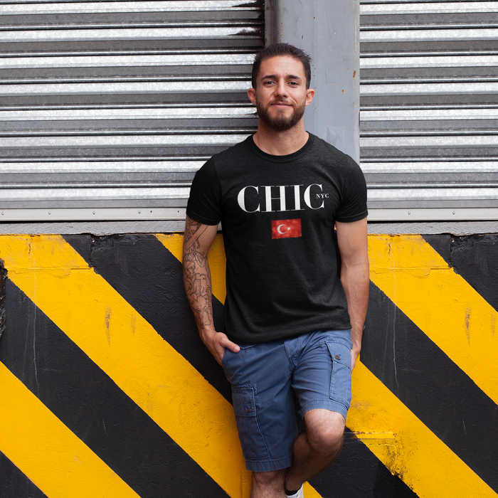 CHIC NYC MAN Black Classic T-Shirt with Country Flags