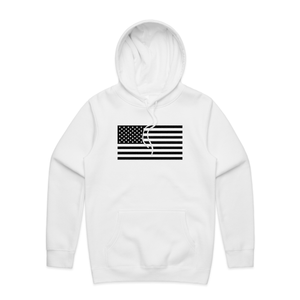 White Basic Hoodie with USA Flag
