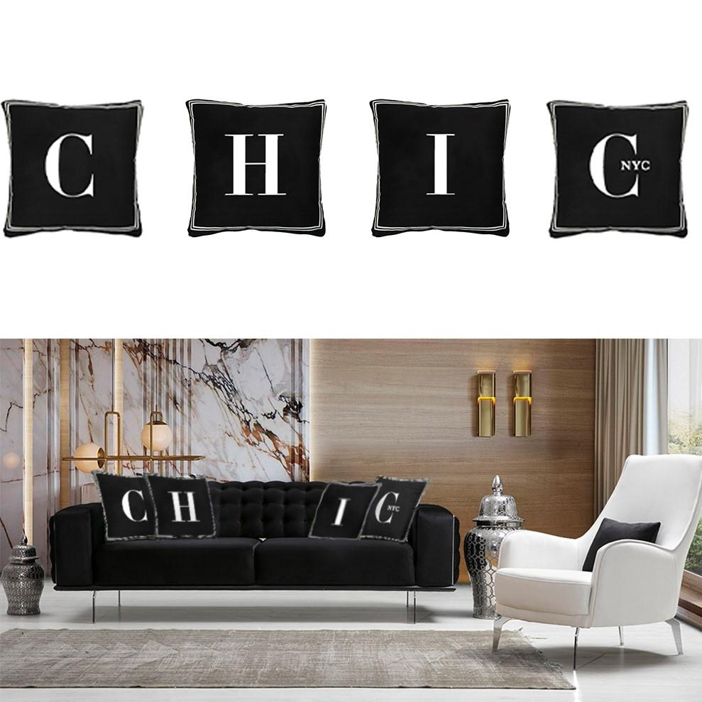 Chic NYC Letter Pillow 4 Pc Set