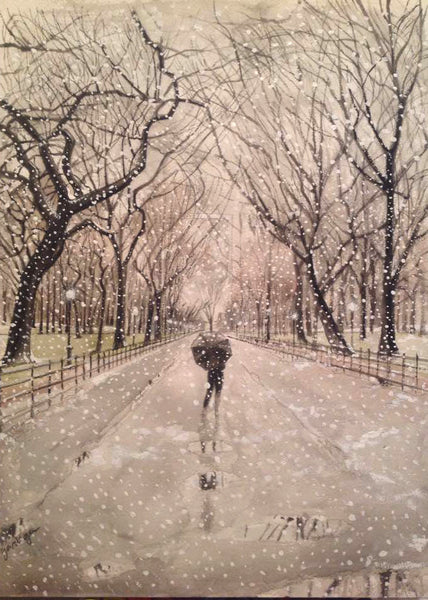 Winter, Central Park Mall Print