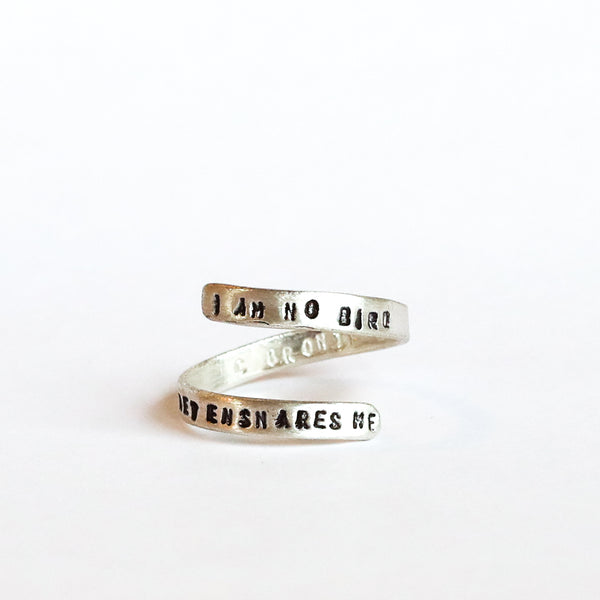 """charlotte bronte quote ring """"I am no bird and no net ensnares me"""""""