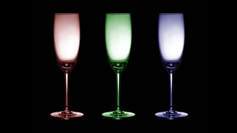 Wine glasses in three different colors