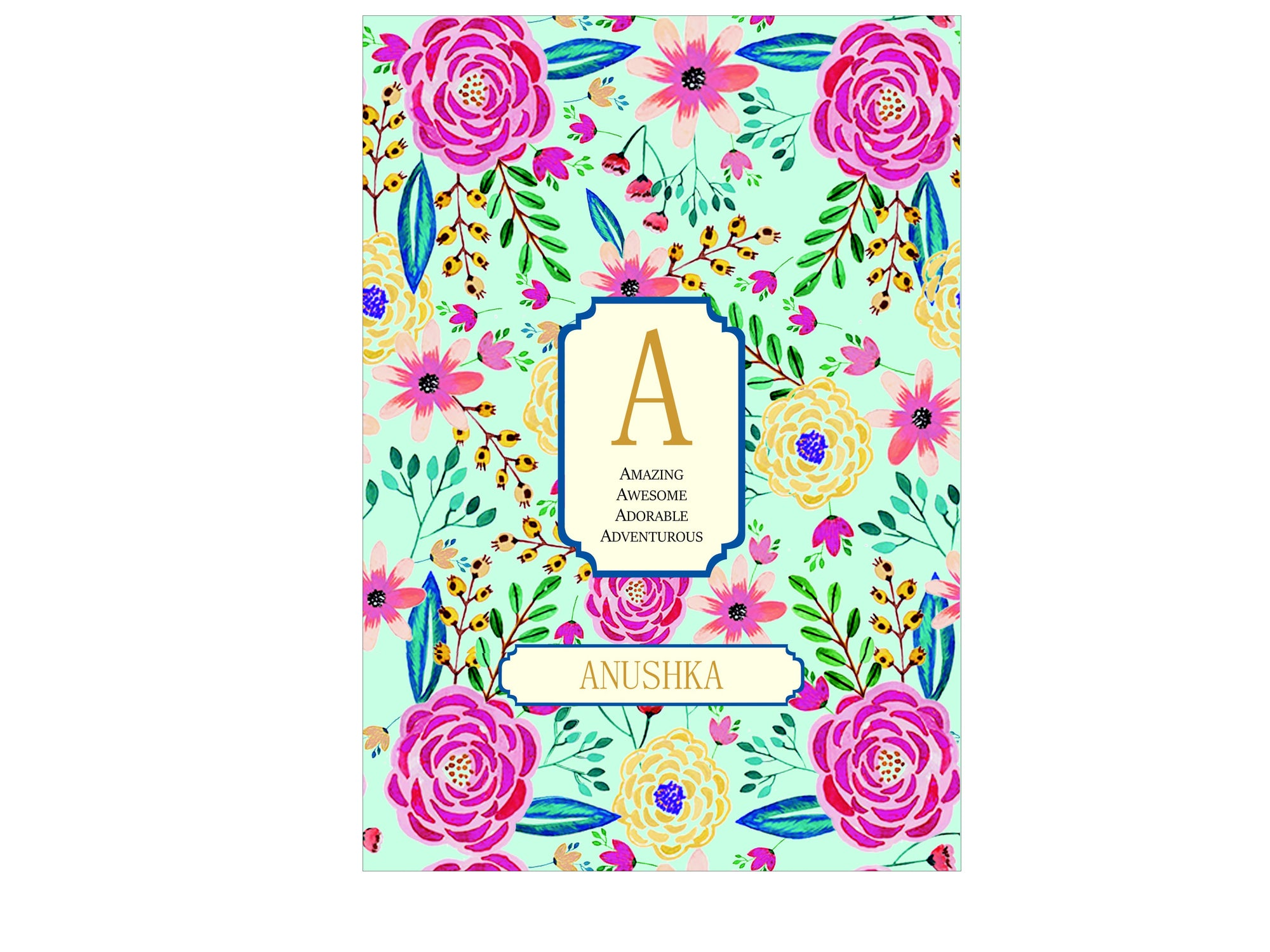 Personalised Initial Monogram Notebook Camellia Soft Cover A5