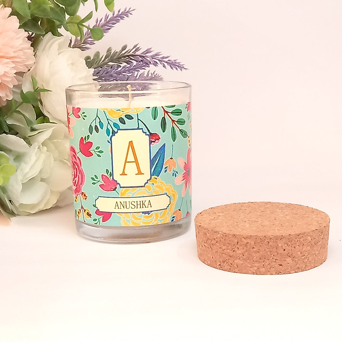 A-Z Personalised Initial Camellia Candle