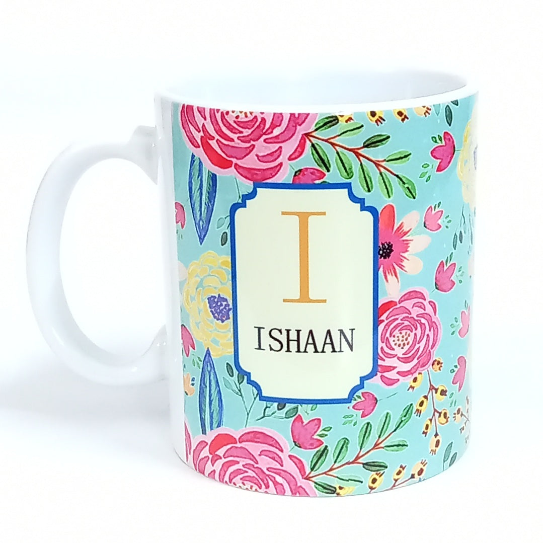 Personalised A-Z Initial Camellia Coffee Mug