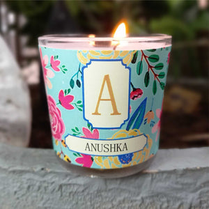 Gifts of Love Camellia Initial Personalised Candle Small