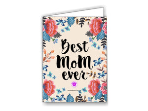 Printable Greeting Card Camellia 'Best Mom Ever' 5x3.75in