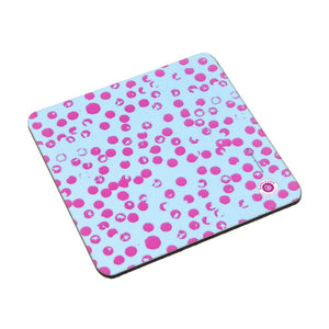Coaster - Blue Base Pink Dots