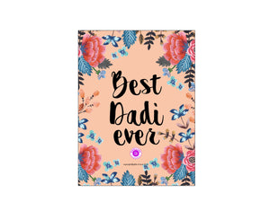 Printable Greeting Card Camellia 'Best Dadi Ever' 5x3.75in