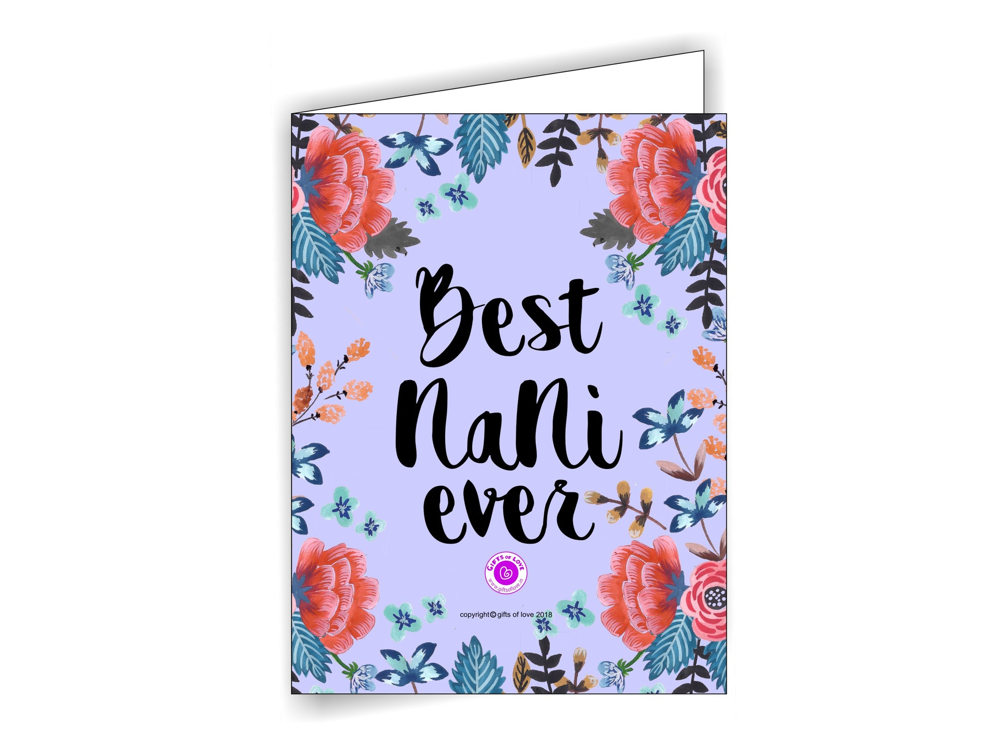 Printable Greeting Card Camellia 'Best Nani Ever' 5x3.75in