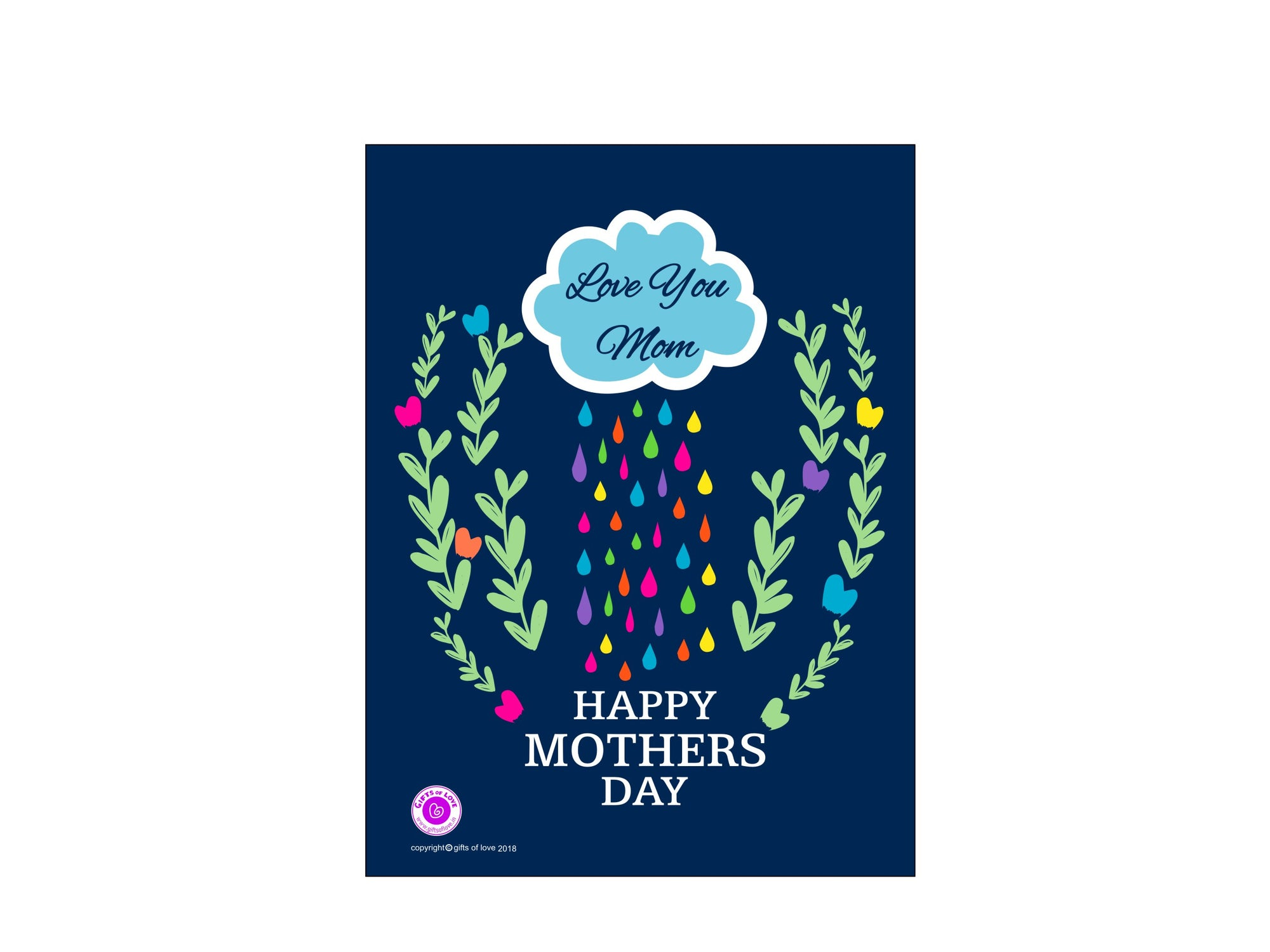 Greeting Card Printable Love You Mom Rain Rainbow 5x3.75in