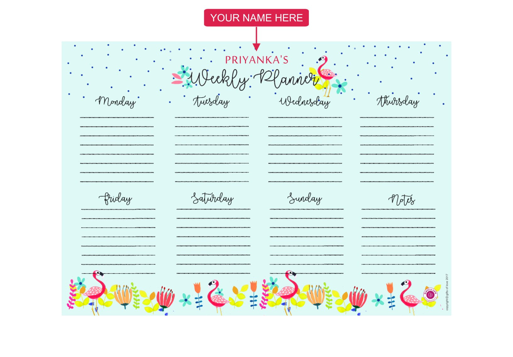 Gifts of Love Personalised Notepad Weekly Planner Flamnigo 7.5x5.25