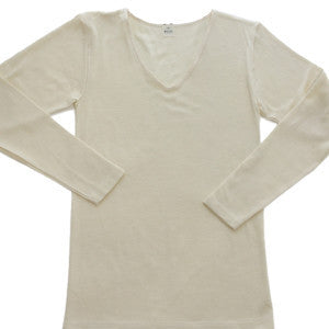 Women's Long-Sleeve V-Neck Organic Wool-Silk