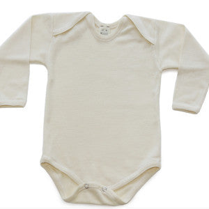 Wool and Wool-Silk Long-Sleeved Onesie