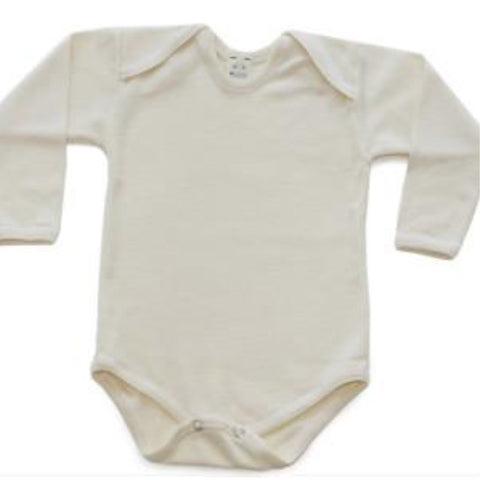 Organic Wool and Wool-Silk Long-Sleeved Onesie
