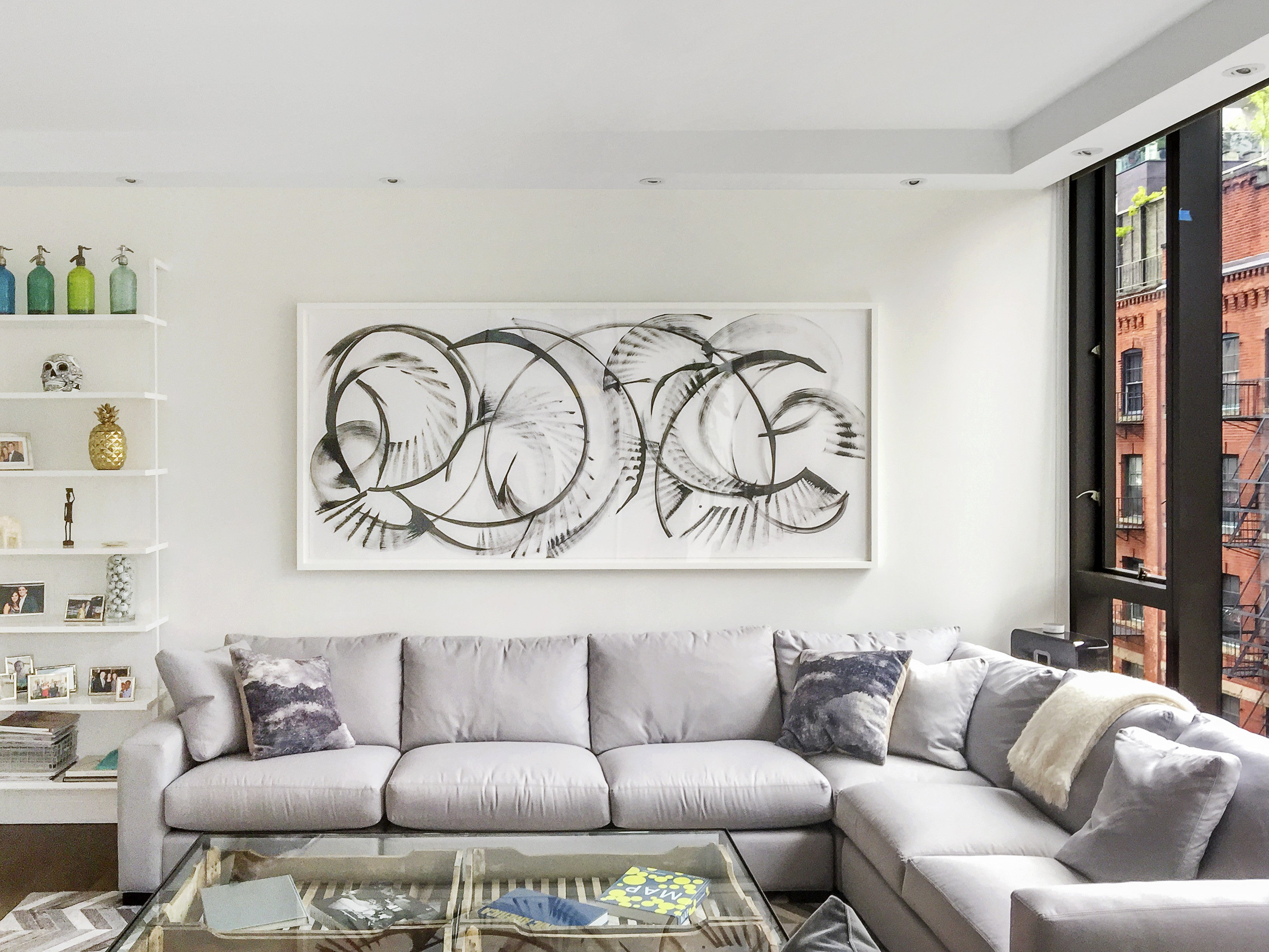bold black and white, art above the couch, sugarlift art consultants