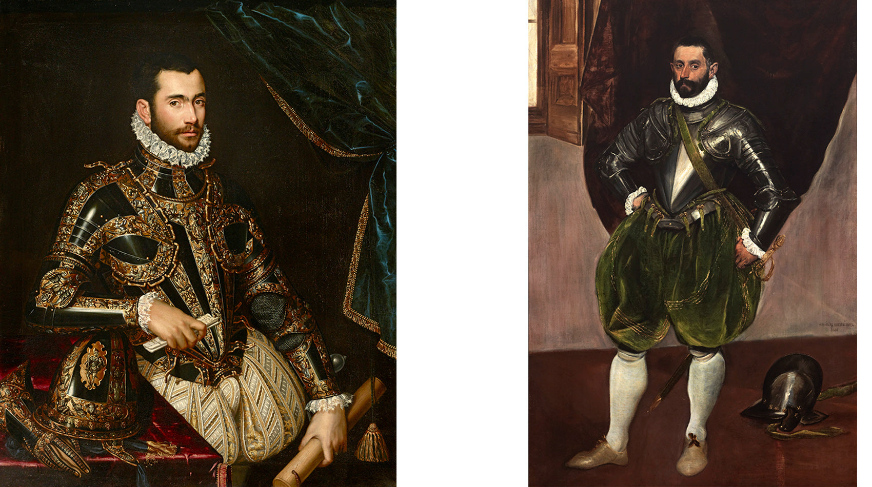 Both portraits hanging side-by-side at the Frick