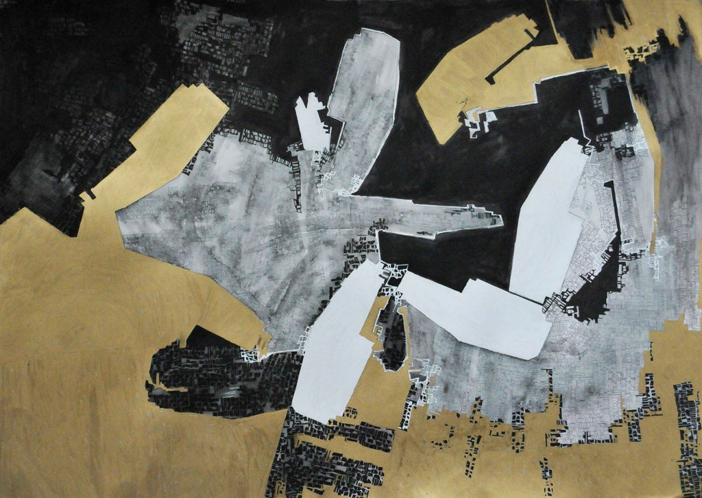 Untitled (Pavillon in Black, Gold and White)