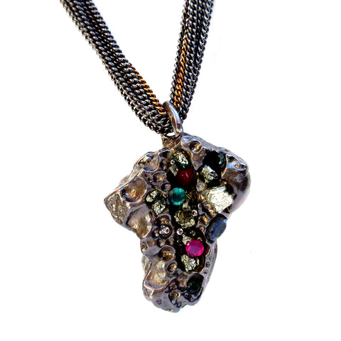 Neon Violet Rock Nugget Collier