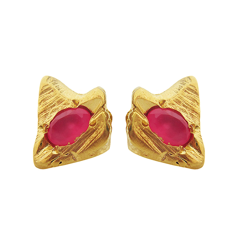 Fuchsia Stega Stud Earrings