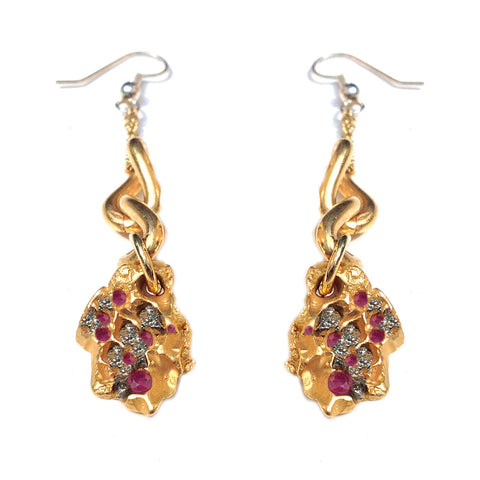 Autumn Leaf Gems Drop Earrings