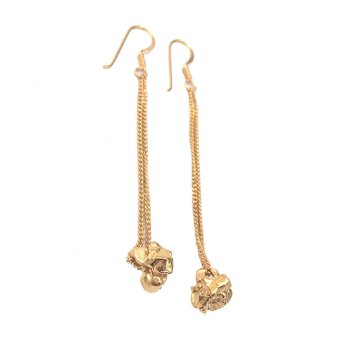 Double Chain Rock Drop Earrings
