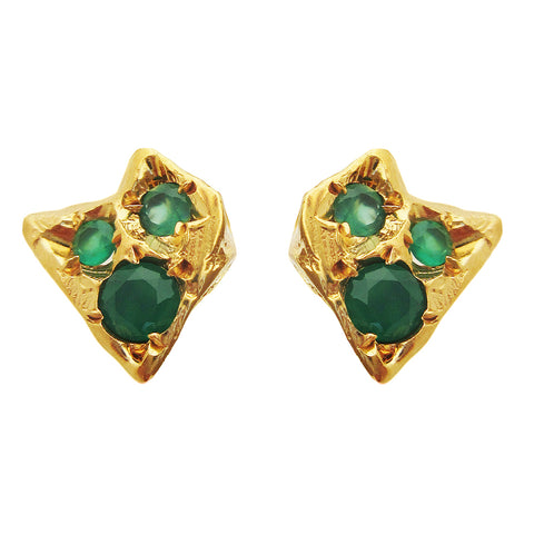 Twisting Emerald Stega Stud Earrings