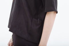 Suede Short Sleeve Boxy with Side Pockets