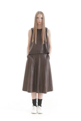 Brown Pleather Umbrella Skirt
