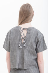Grey Raindrops Tied Back Short Sleeve