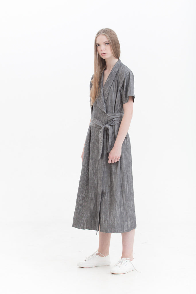 Grey Raindrops Wrap Dress