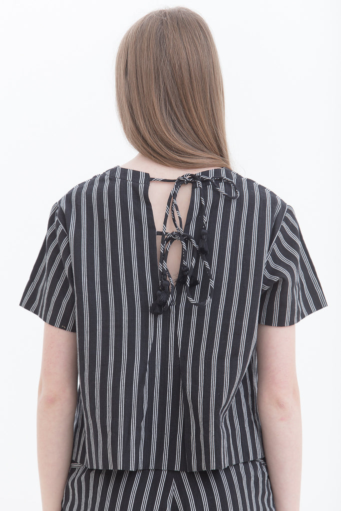 Lurik Black Tied Back Short Sleeve