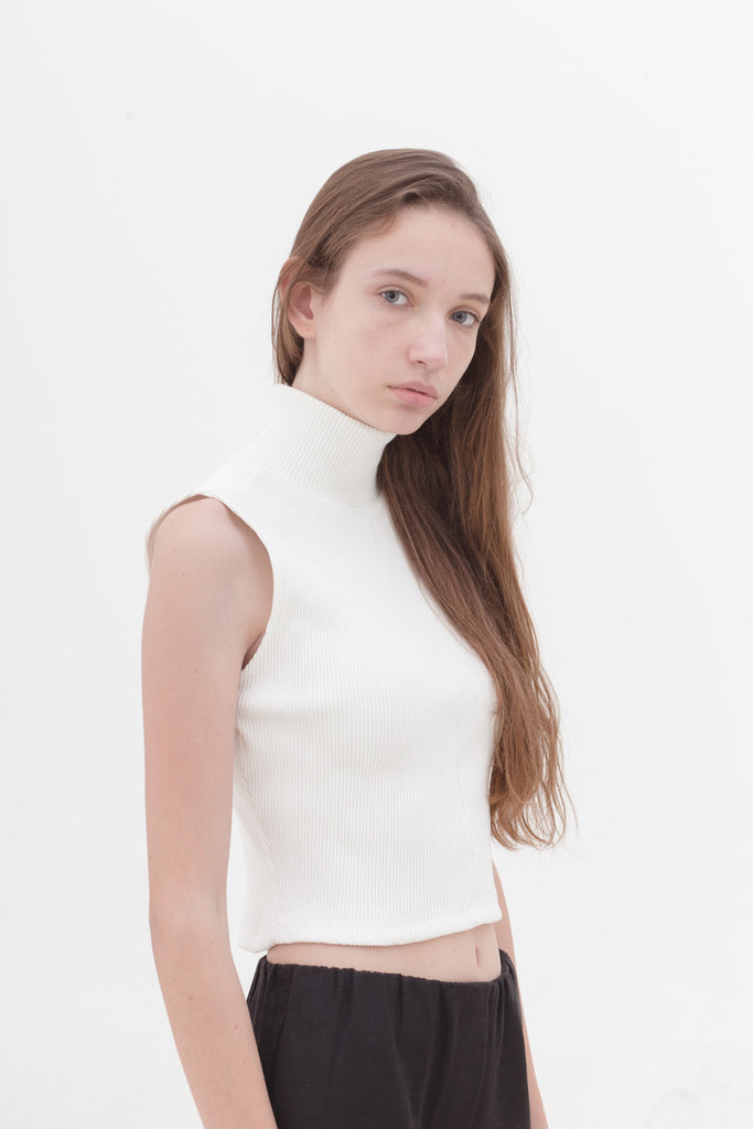 White High Neck Top