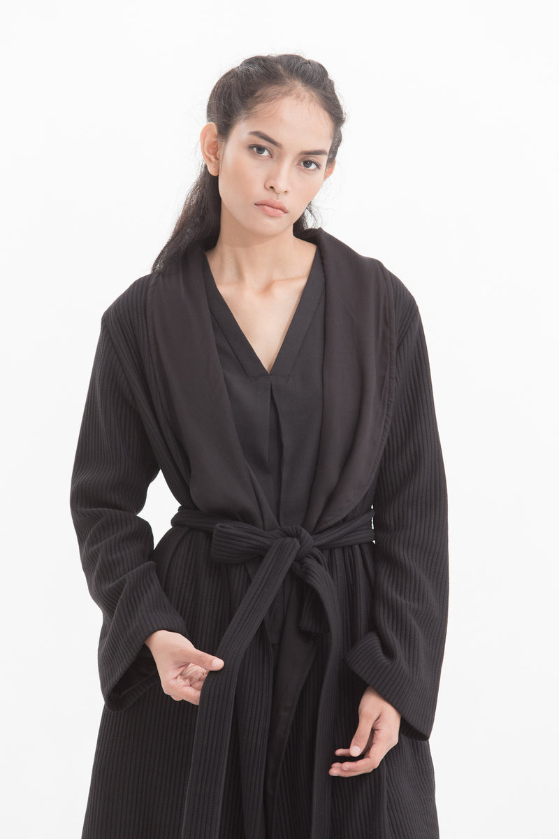 Midnight Black Long Sleeve Coat